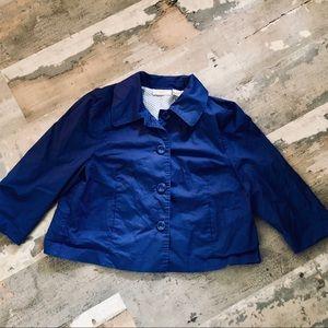 Royal blue cropped 3/4 sleeve swing jacket size M